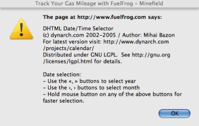 Fuelfrog\'s DHTML Calendar